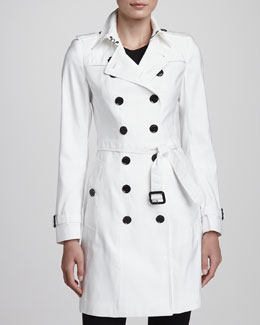 Burberry London Mulberry Silk-Blend Trenchcoat, White