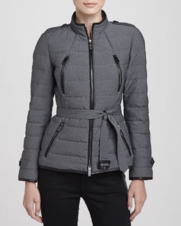 Burberry London Lightweight Leather-Trim Puffer Jacket
