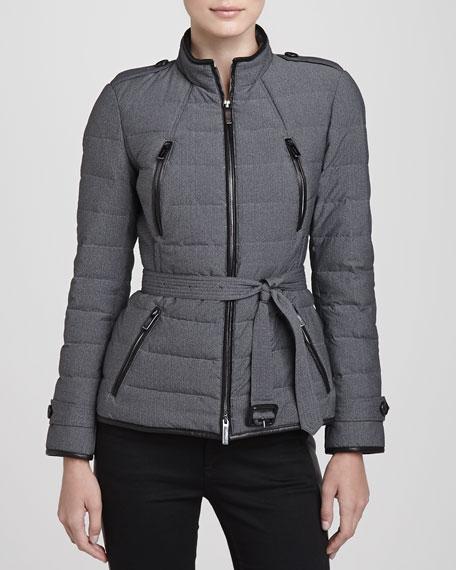Lightweight Leather-Trim Puffer Jacket