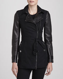 Burberry London Leather-Sleeve Jacket