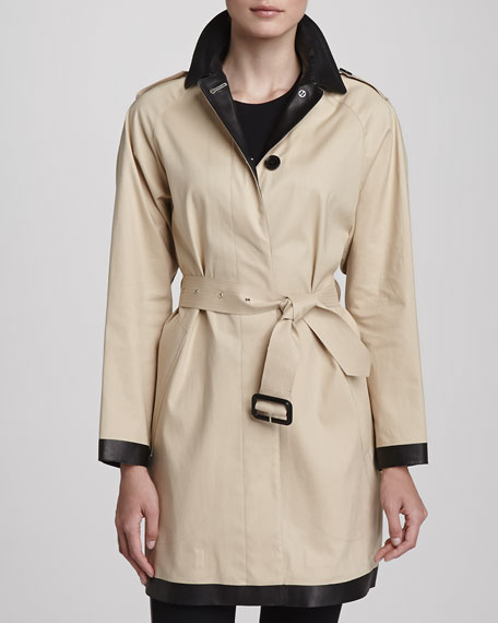 Leather Collar Trenchcoat