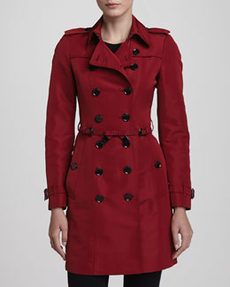Burberry London Bow-Belt Trenchcoat, Parade Red
