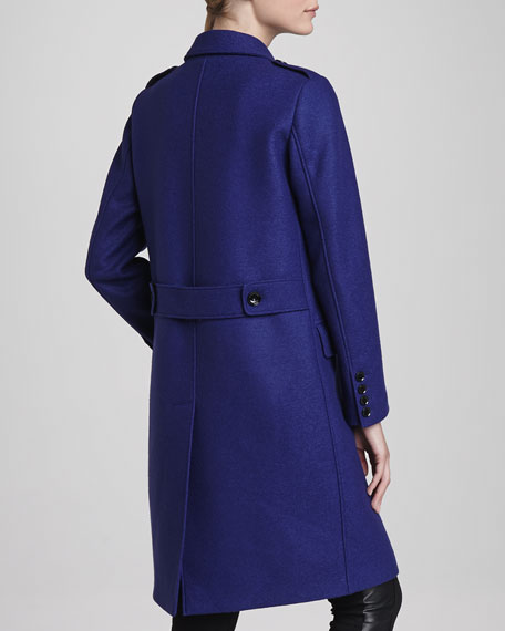 Oversized Double-Breasted Coat, Sapphire Blue
