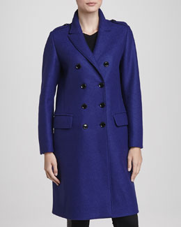 Burberry London Oversized Double-Breasted Coat, Sapphire Blue