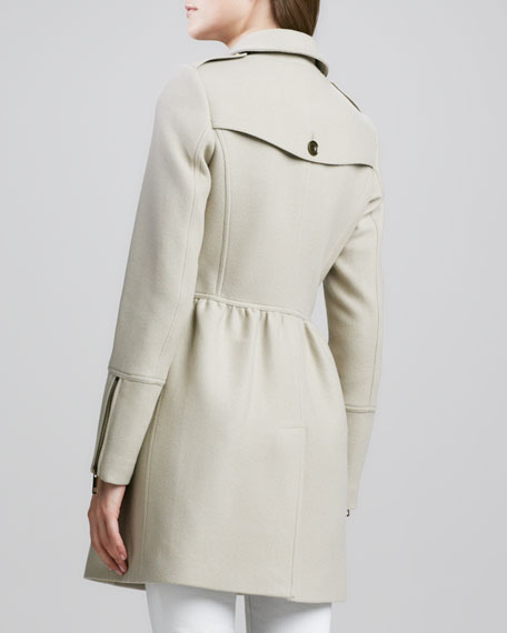 Zip-Detail Woolen Trenchcoat