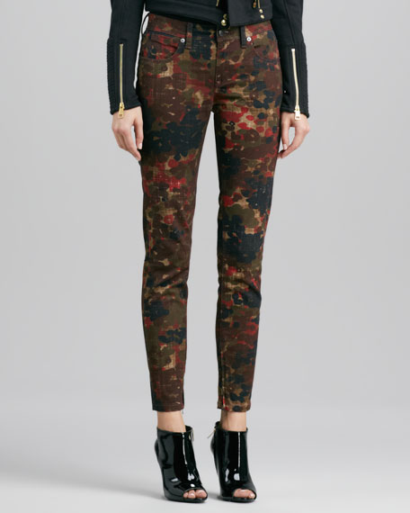 Floral-Camo Skinny Jeans