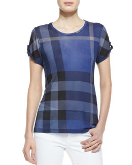 Burberry Brit Short-Sleeve Check Tee, Bright Blue