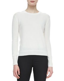 Burberry Brit Pullover Sweater with Elbow Patches, Natural
