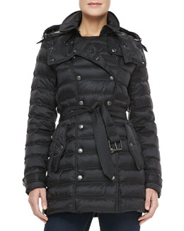 Burberry Brit Double-Breasted Snap-Button Coat, Black