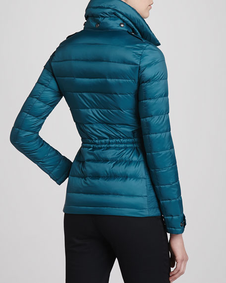 Fitted Puffer Coat, Bright Teal