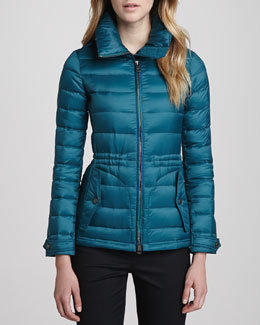 Burberry Brit Fitted Puffer Coat, Bright Teal