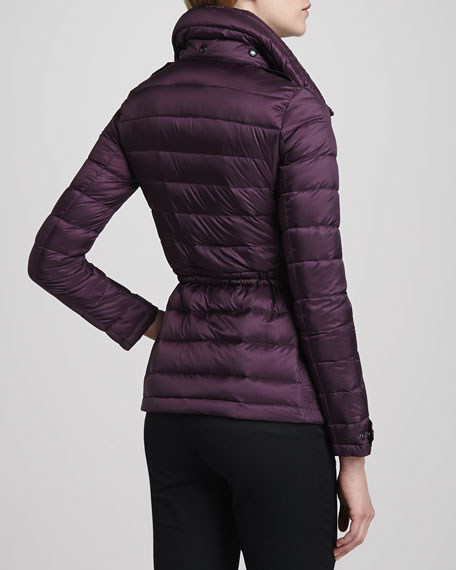 Fitted Puffer Coat, Beetroot