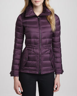 Burberry Brit Fitted Puffer Coat, Beetroot