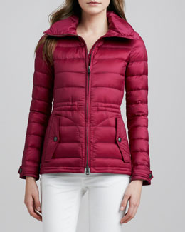 Burberry Brit Cinched-Waist Short Puffer Coat
