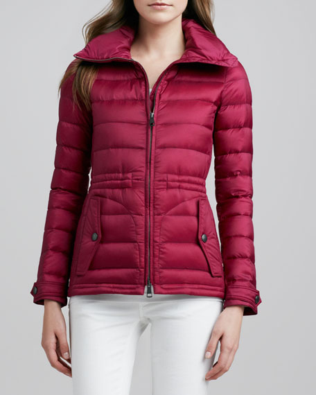 Cinched-Waist Short Puffer Coat