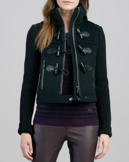 Burberry Brit Knit-Sleeve Toggle Jacket