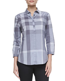 Burberry Brit Bracelet Sleve Check Shirt, Pale Gray
