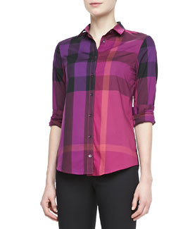 Burberry Brit Check Bracelet-Sleeve Shirt, Bright Magenta