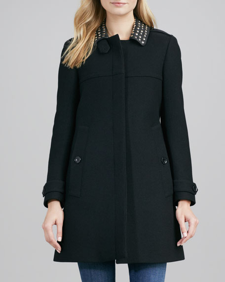 Leather-Studded-Collar Coat