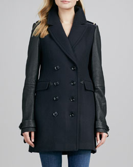 Burberry Brit Two-Tone Leather-Sleeve Car Coat
