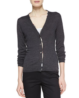 Burberry Brit Check-Trim Wool Cardigan, Gray Melange