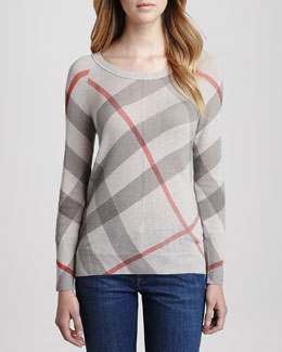 Burberry Brit Classic Check Knit Sweater
