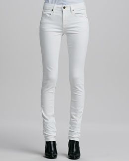Burberry Brit Skinny Straight-Leg Jeans, White