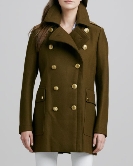 Double-Breasted Wool Coat with Back Pleats