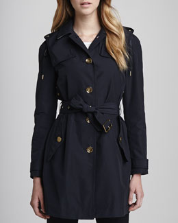 Burberry Brit Single-Breasted Rain Trenchcoat