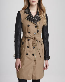 Burberry Brit Stud-Collar Leather-Sleeve Trenchcoat