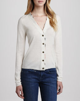 Burberry Brit V-Neck Buttoned Cardigan, Natural White