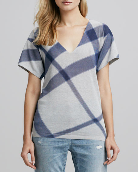 Short-Sleeve Check Sweater