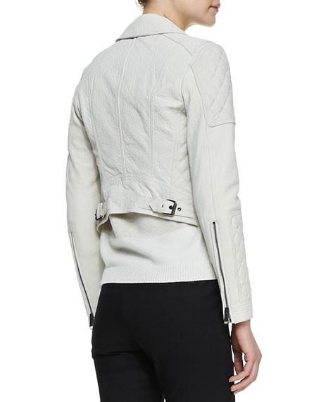 Grained Lambskin Leather Jacket, White