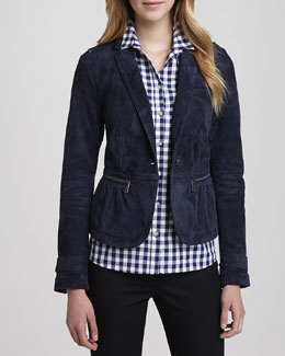 Burberry Brit Suede Cinched-Waist Jacket