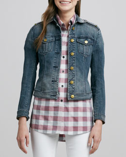 Burberry Brit Fitted Denim Jacket, Steel Blue