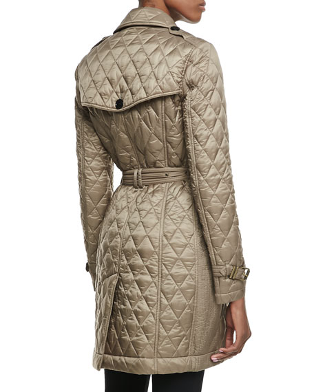Long-Sleeve Quilted Asymmetric Trenchcoat