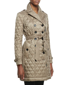Burberry Brit Long-Sleeve Quilted Asymmetric Trenchcoat