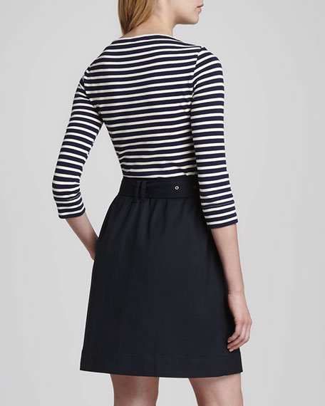 Belted Mixed-Fabric Dress
