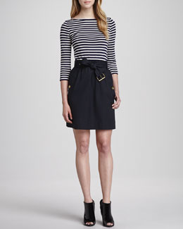 Burberry Brit Belted Mixed-Fabric Dress