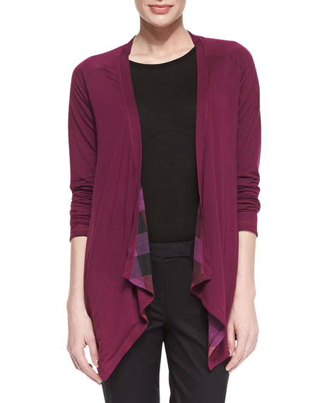 Burberry Brit Reversible Check-Solid Waterfall Cardigan, Cerise Purple