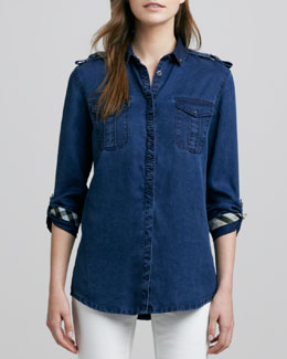 Burberry Brit Denim Patch-Pocket Shirt