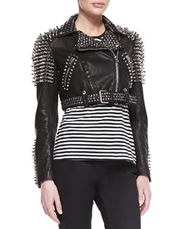 Burberry Brit Spike Studded Leather Motorcycle Jacket, Black