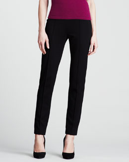 Escada Dondi Jersey Side-Zip Pants, Black