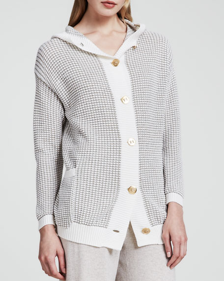 Basket-Knit Cardigan, Natural