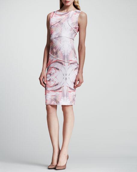 Vintage-Print Sleeveless Jersey Dress, Medium Red
