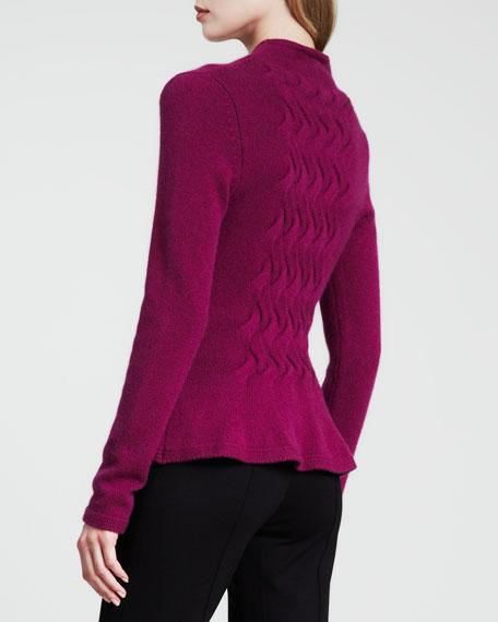 V-Neck Zip-Front Cashmere Cardigan, Purple
