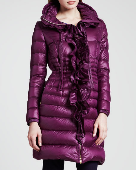 Long Ruffle-Front Puffer Coat