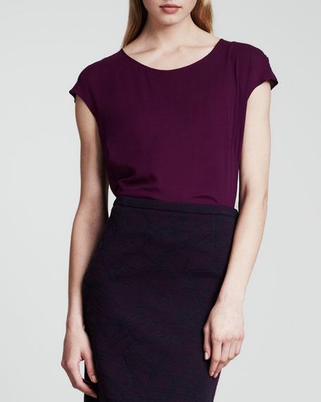 Cap-Sleeve Silk Blouse, Purple
