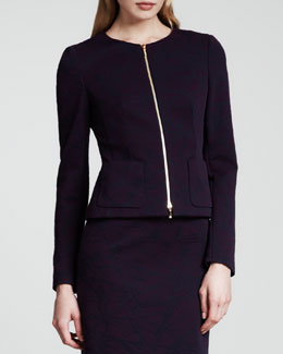 Escada Sparker Scuba Jersey Jacket, Dark Purple