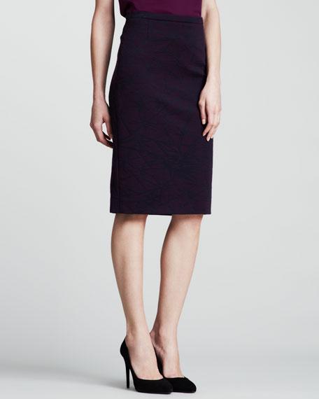 Spark Scuba Pencil Skirt, Purple
